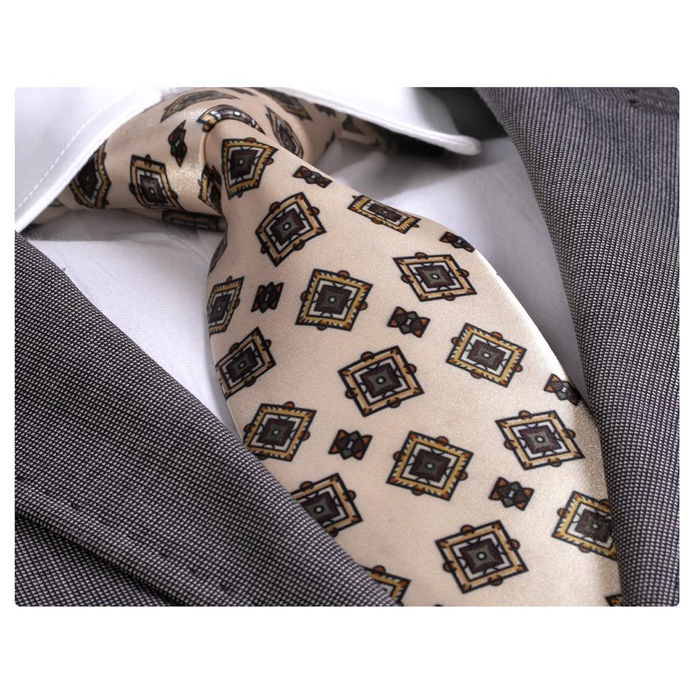 Amedeo Exclusive Men's Fashion Cream Silk Neck Tie Gift Box