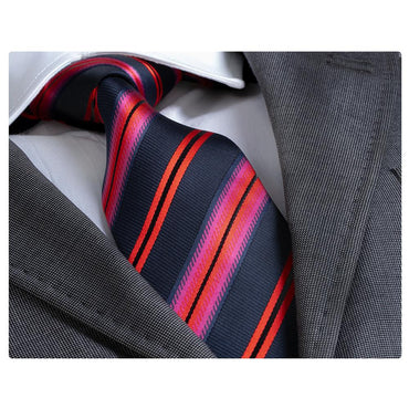 Men's Fashion Navy Blue Red Stripe Silk Neck Tie Gift Box