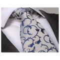Men's Fashion Gray Blue Floral Silk Neck Tie with Gift Box