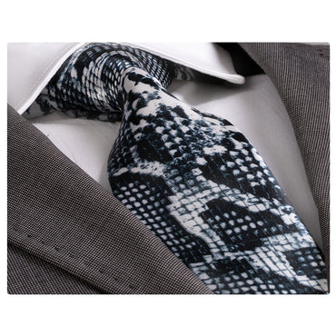 Men's Fashion Black & White Snake Skin Tie Silk Neck Tie Gift Box