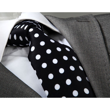 Men's Fashion Black White Polka Dot 100% Jacquard Silk Neck Tie Gift Box