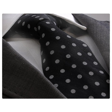 Men's Fashion Black White Polka Dot Neck Tie Box Premium Quality