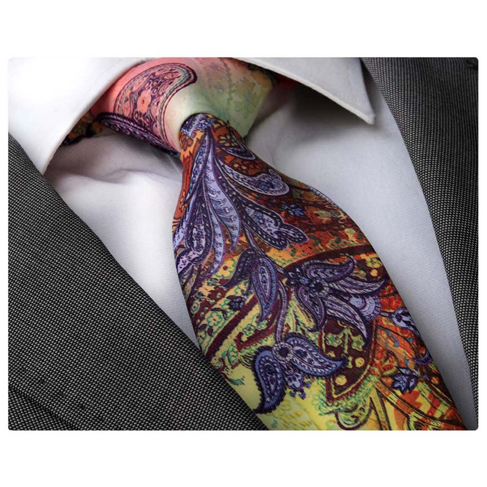 Men's jacquard Blue Parrot Paisley Premium Neck Tie With Gift Box - Amedeo Exclusive