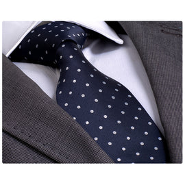 Men's Fashion Navy Blue White Polka Dot Neck Tie