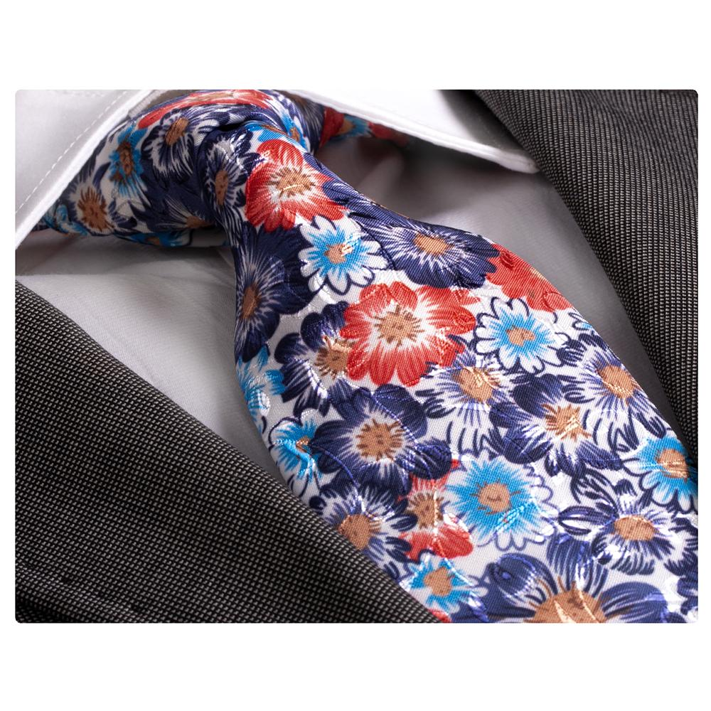 Amedeo Exclusive Men's Fashion Colorful Floral Silk Neck Tie with Gift Box