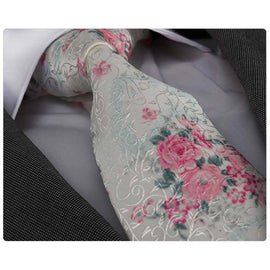 Men's Fashion Rose White Floral Neck Tie Gift Box