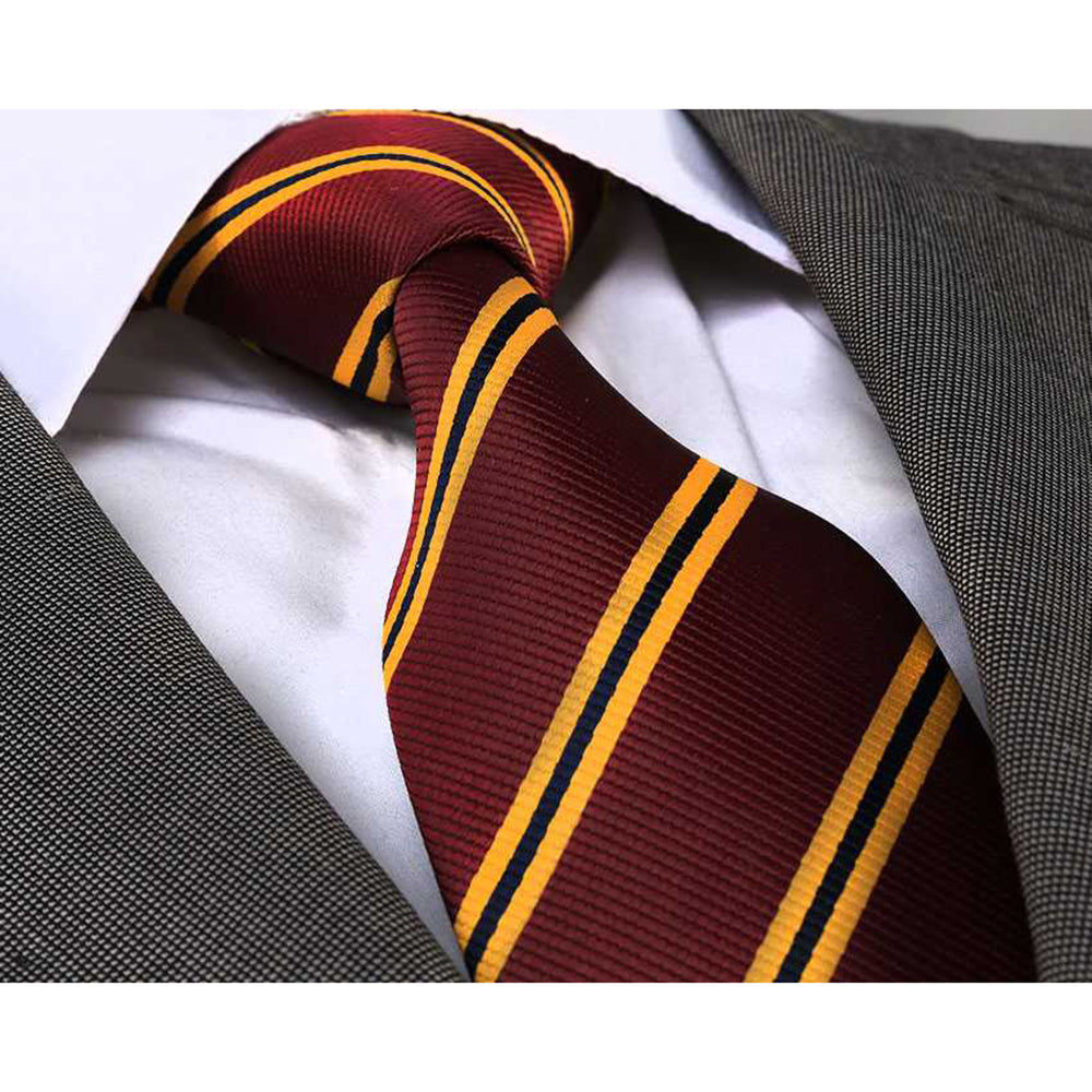 Men's jacquard Maroon Yellow Neck Tie With Gift Box