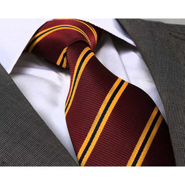 Men's Fashion Maroon Yellow Neck Tie Gift Box