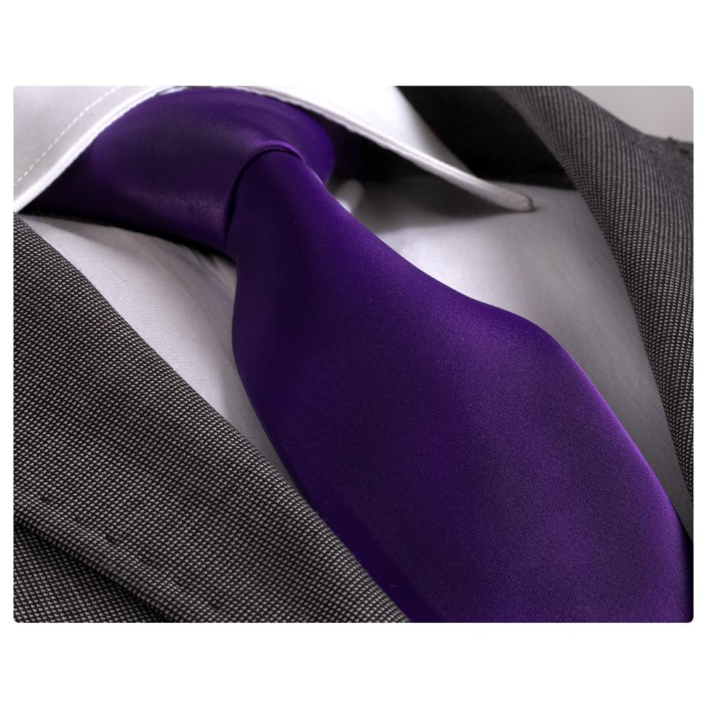Men's Fashion Solid Purple Silk Neck Tie with Gift Box