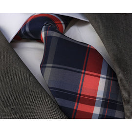 Men's Fashion Blue Red Plaid Neck Tie Gift Box