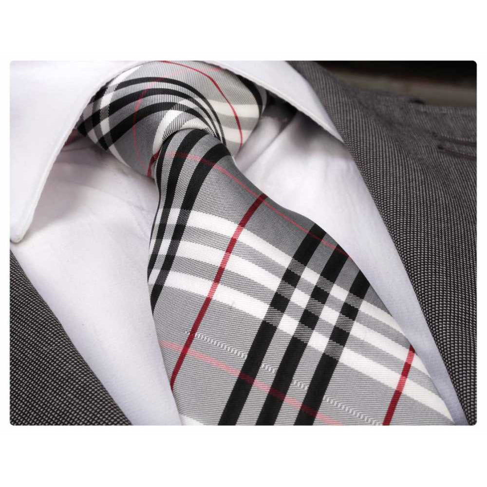 Men's Fashion Grey Red White Plaid Neck Tie Gift Box