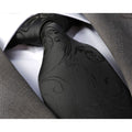 Solid Black Paisley Mens Designer Silk Necktie with Gift Box - Premium Quality made in Europe - Amedeo Exclusive