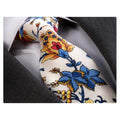 Men's jacquard Red Blue White Floral Premium Neck Tie With Gift Box - Amedeo Exclusive
