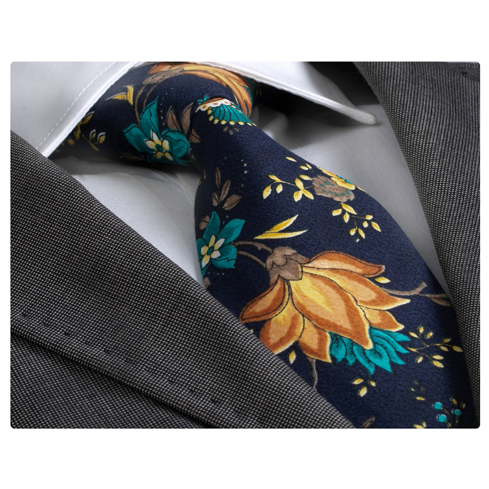 Navy Blue With Flowers Mens Designer Silk Necktie with Gift Box - Premium Quality made in Europe - Amedeo Exclusive