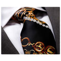 Men's jacquard Black Gold Premium Neck Tie With Gift Box - Amedeo Exclusive
