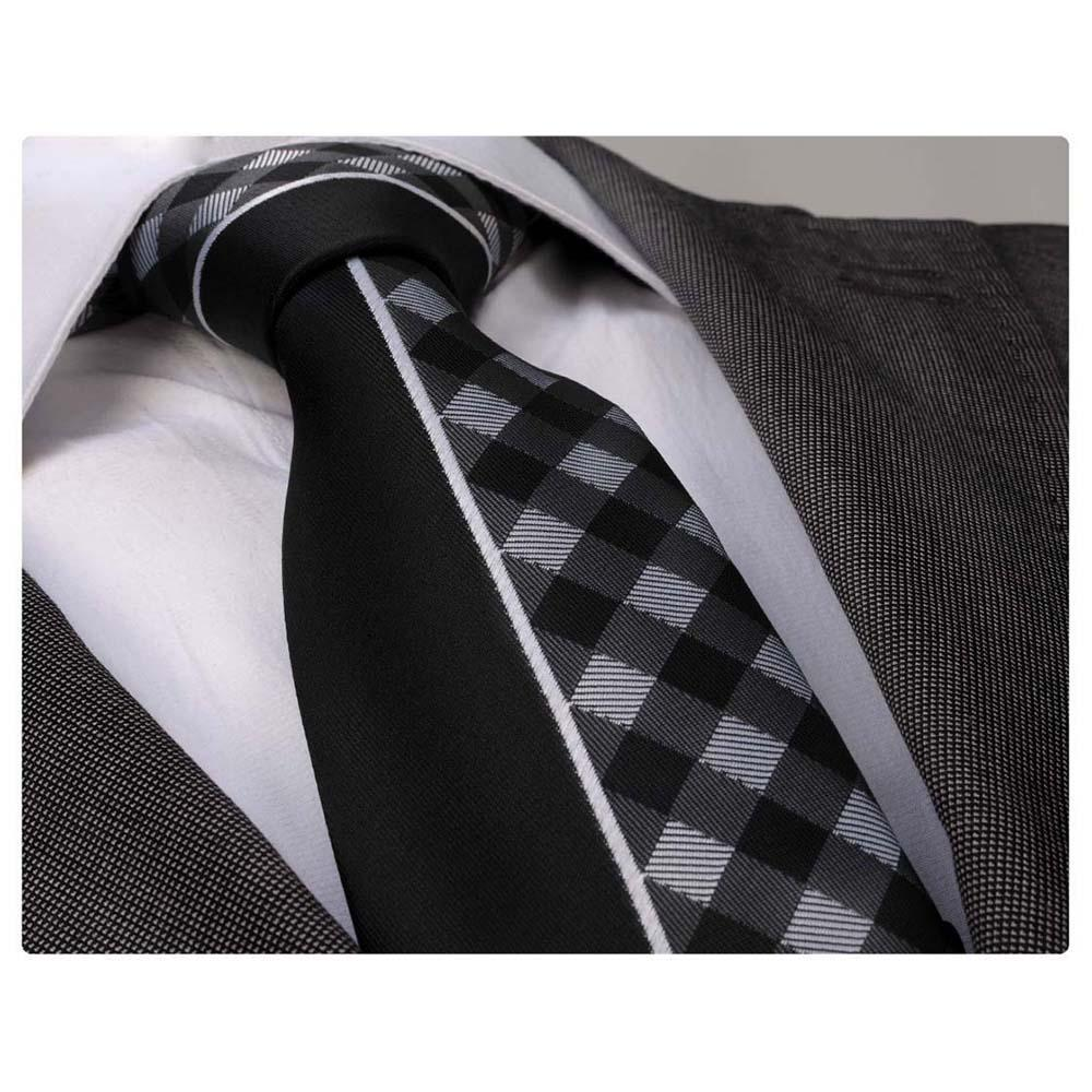 Black White Plaids Mens Designer Silk Necktie with Gift Box - Premium Quality made in Europe - Amedeo Exclusive