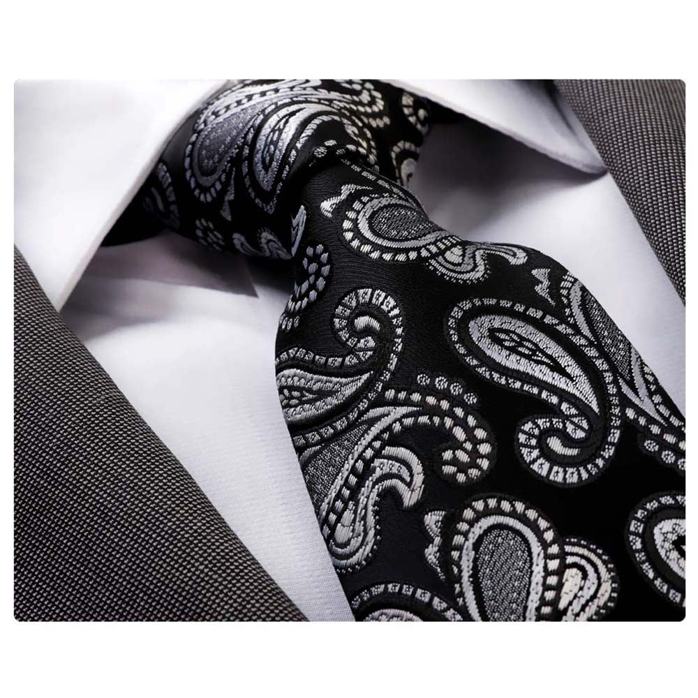 Men's jacquard Black Silver Paisley Premium Neck Tie With Gift Box - Amedeo Exclusive