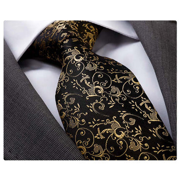 Men's Fashion Black & Gold Silk Neck Tie Gift Box
