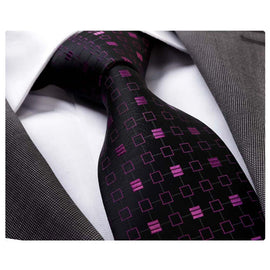 Men's Fashion Black Purple Neck Tie Gift Box