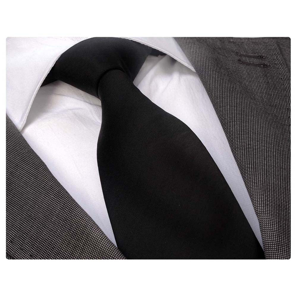 Men's jacquard Solid black Neck Tie With Gift Box