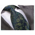 Men's Fashion Blue Yellow Paisley 100% Jacquard Silk Neck Tie Gift Box