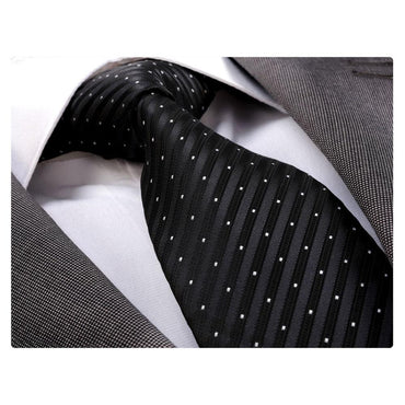 Men's jacquard Black White Premium Neck Tie With Gift Box - Identical - Amedeo Exclusive