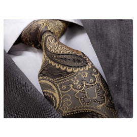 Men's Fashion Brown Gold Neck Tie Gift Box