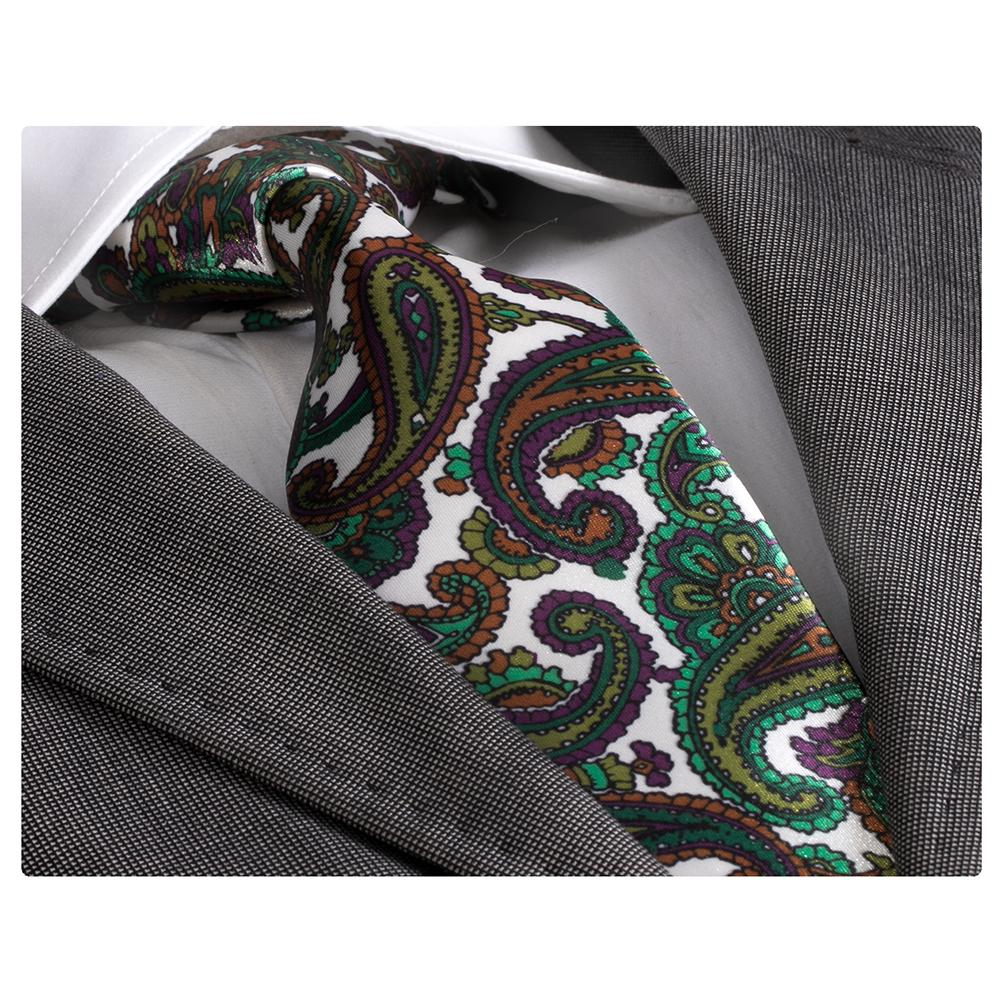 Men's jacquard Green With Paisley Premium Neck Tie With Gift Box - Amedeo Exclusive