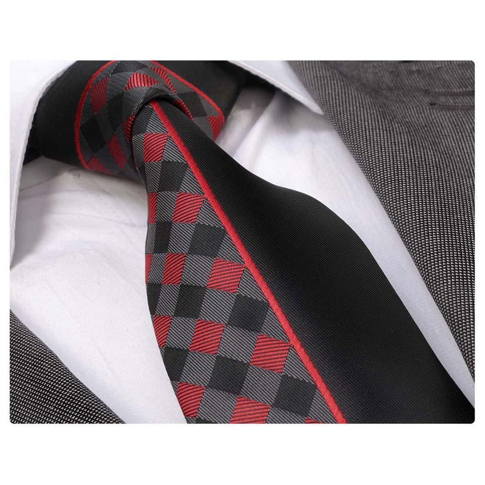 Men's Fashion Black Red Plaids Tie Necktie Gift Box - Identical - Amedeo Exclusive