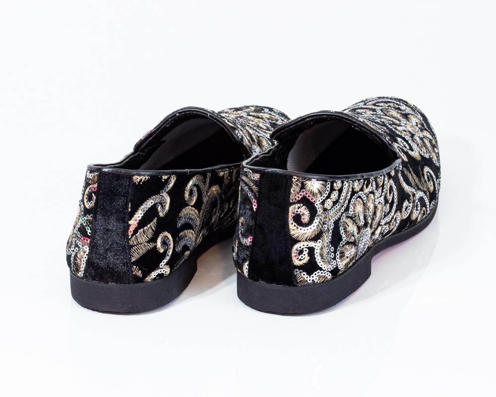 Premium Black And Golden Floral Loafers
