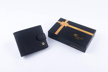 Leather Wallets Black -AMLW-0001 - Amedeo Exclusive
