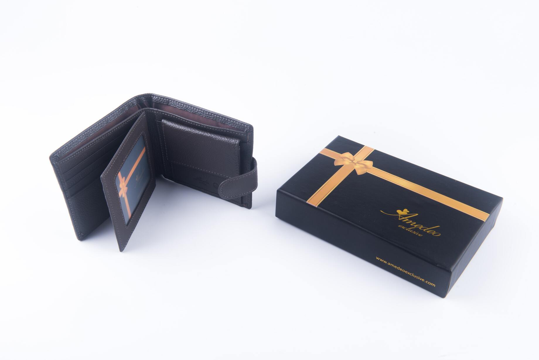 Leather Wallets Brown- AMLW-0002 - Amedeo Exclusive