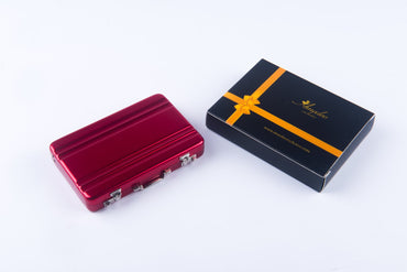 Metal Mens pocket sized Red Business Card Holder / Card Case / Visiting Card Case - Amedeo Exclusive