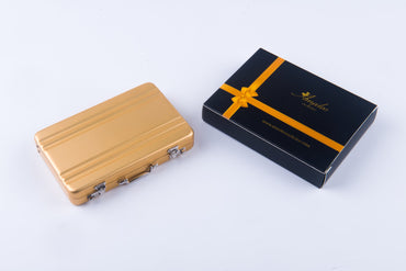 Metal Mens pocket sized Tan Business Card Holder / Card Case / Visiting Card Case - Amedeo Exclusive
