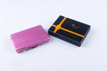 Metal Mens pocket sized Pink Business Card Holder / Card Case / Visiting Card Case - Amedeo Exclusive