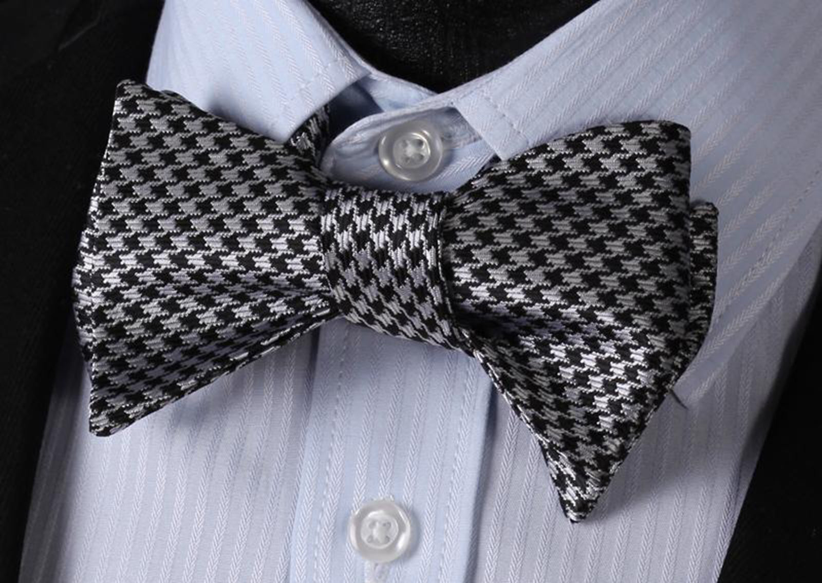 Black With Silver Check Mens Silk Self tie Bow Tie with Pocket Squares Set - Amedeo Exclusive