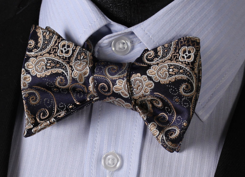 Gold Navy Blue Paisley Mens Silk Self tie Bow Tie with Pocket Squares Set - Amedeo Exclusive