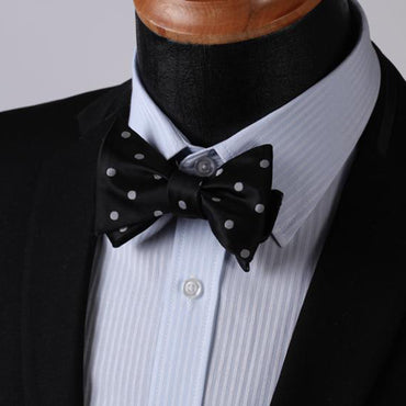Men's Silk Polka Dot Self Bow Tie Matching Pocket Handkerchief