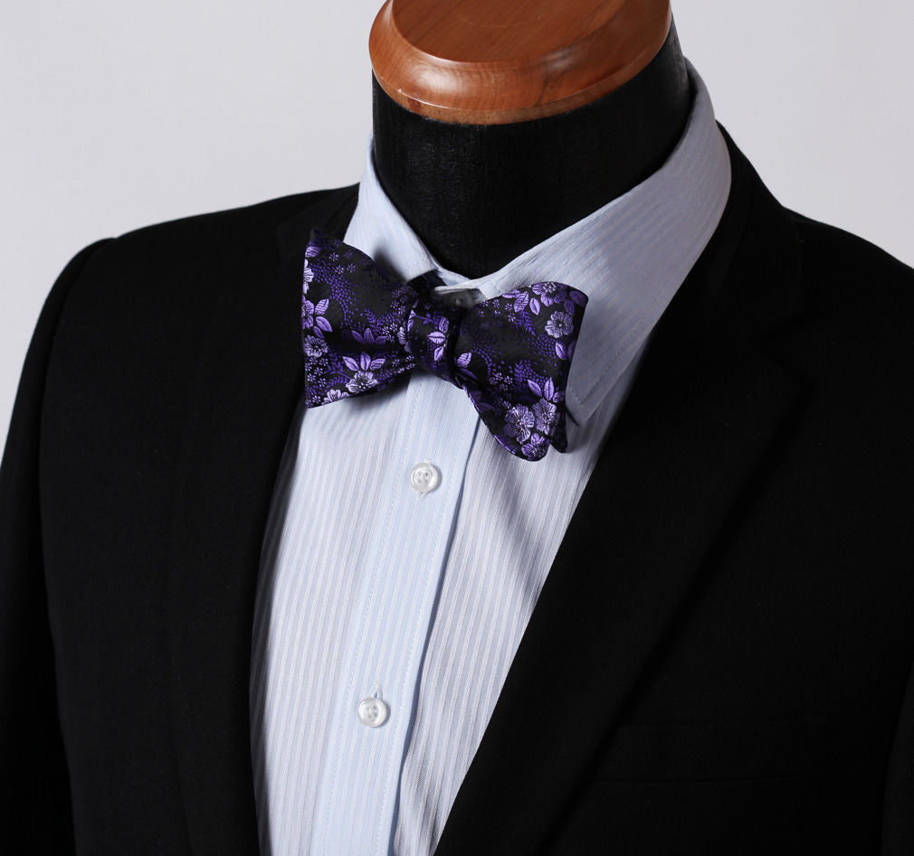 Men's Purple Floral Silk Self Bow Tie & Handkerchief