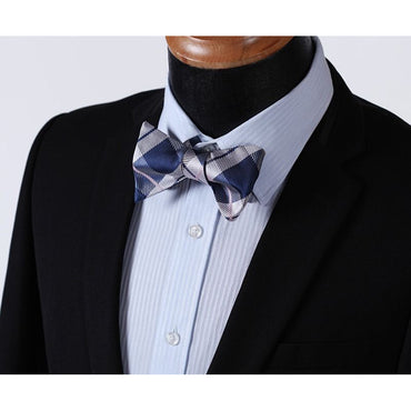Men's Silk Blue check Self Bow Tie & Pocket Handkerchief
