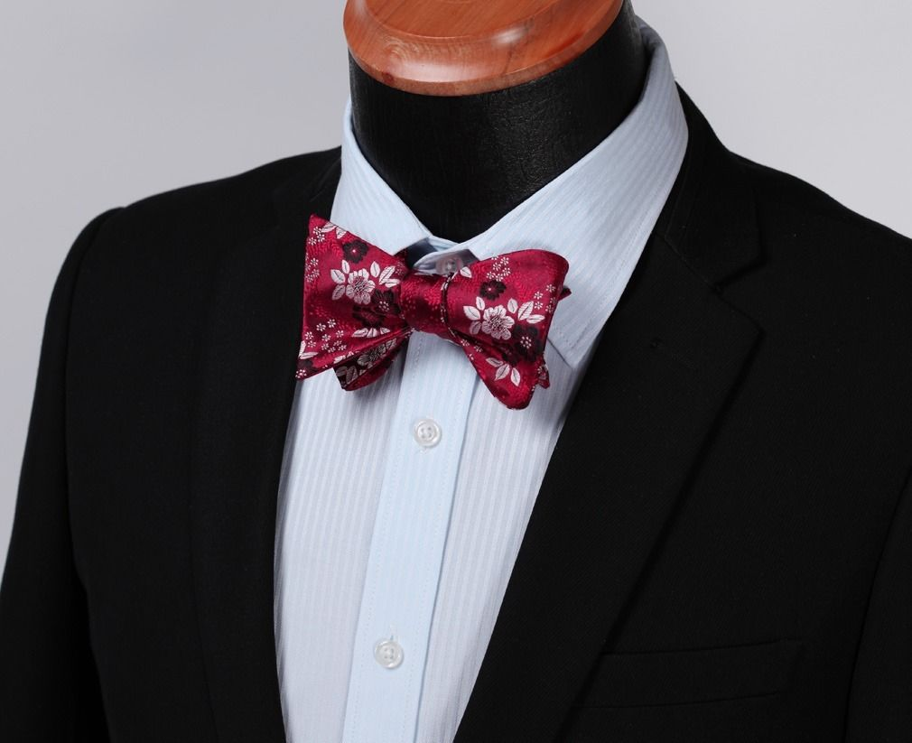 Blue Red Check Mens Silk Self tie Bow Tie with Pocket Squares Set - Amedeo Exclusive