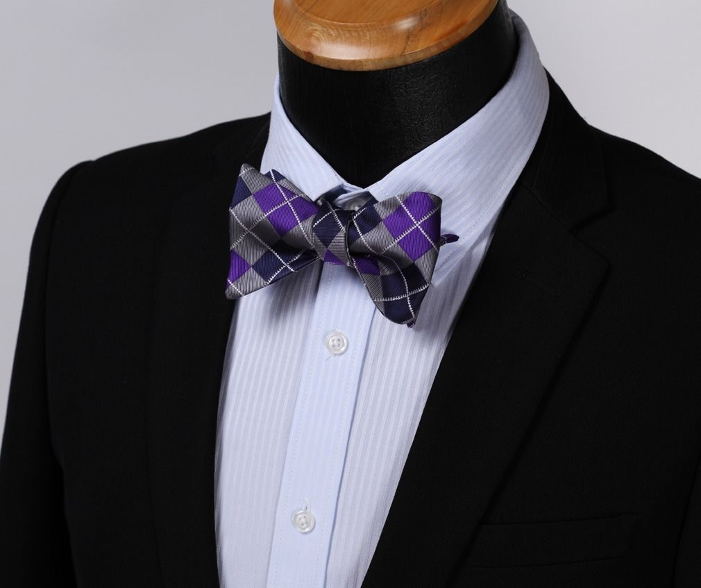 Purple Navy Blue Check Mens Silk Self tie Bow Tie with Pocket Squares Set - Amedeo Exclusive
