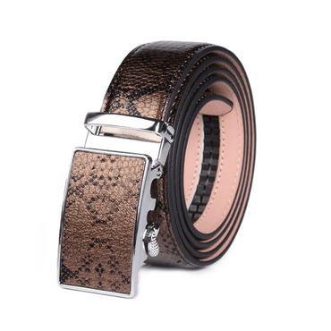 Men's Stainless Steel Snake Skin - Bronze Buckle Belt - Amedeo Exclusive