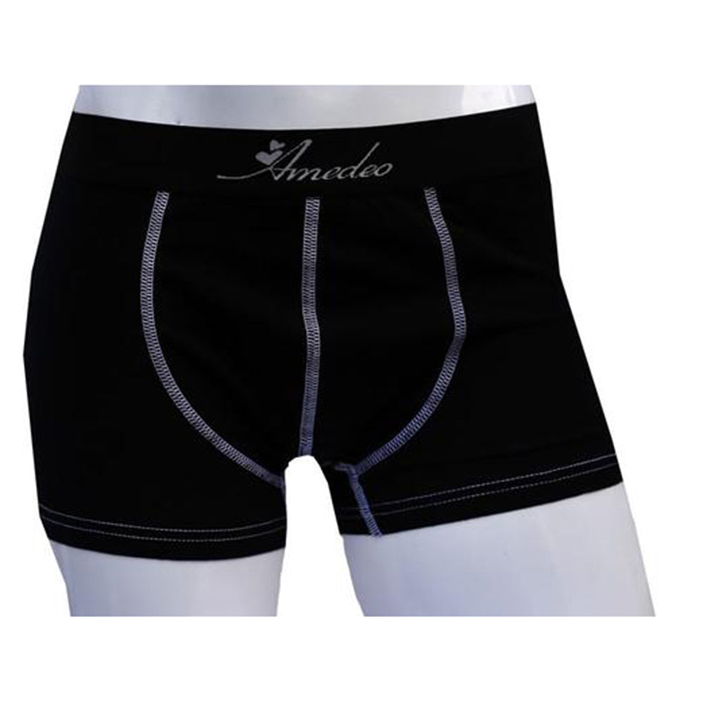 Men's Solid Black Cotton Boxer Briefs Underwear - Amedeo Exclusive