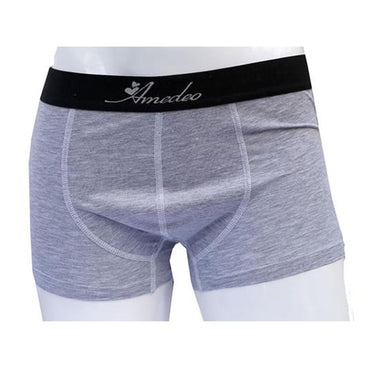 Men's Solid Grey Cotton Boxer Briefs Underwear