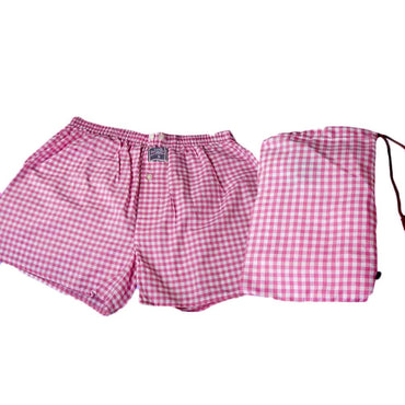 Mens Pink White Check Cotton Boxer Brief Underwear