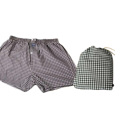 Mens Brown White Check Cotton Boxer Brief Underwear