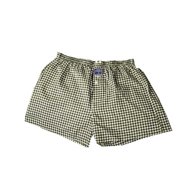 Mens Green White Check Cotton Boxer Brief Underwear