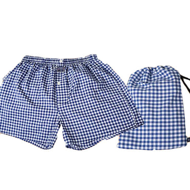 Men's Medium Blue White Check Cotton Boxer Brief Underwear - Amedeo Exclusive