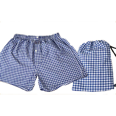 Mens Navy Blue White Check Cotton Boxer Brief Underwear